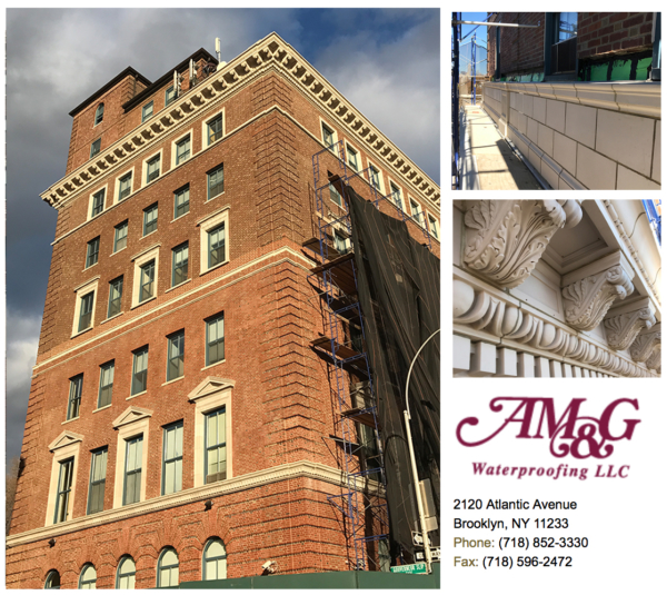 Comprehensive masonry and façade work including 2,500 units of Terra Cotta Replacement. Cornice reconstruction, including reinforcement of steel outrigger support.